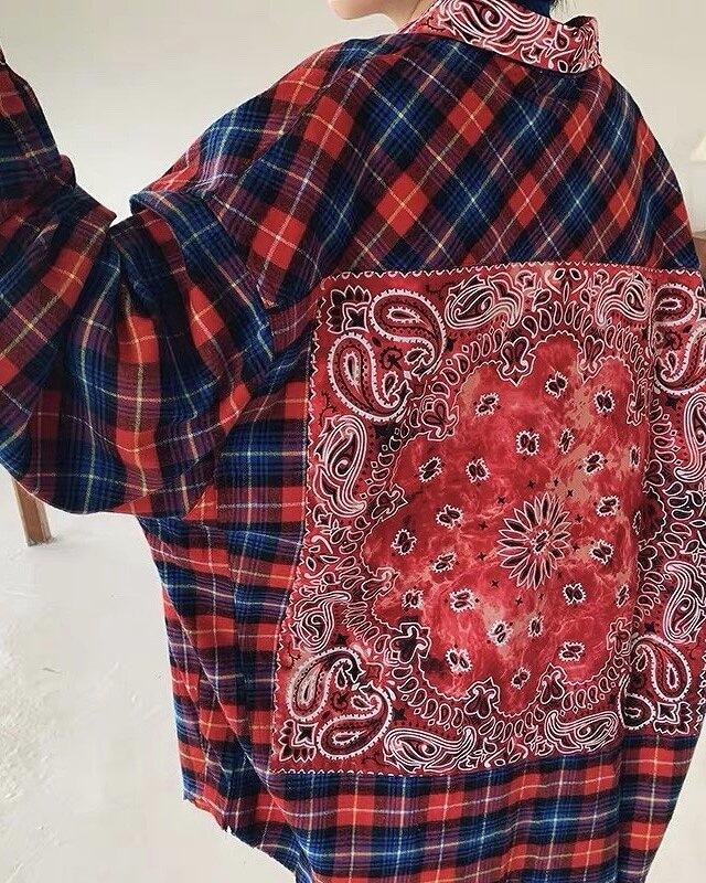 《2色》パッチタイダイバンダナチェックシャツの画像7